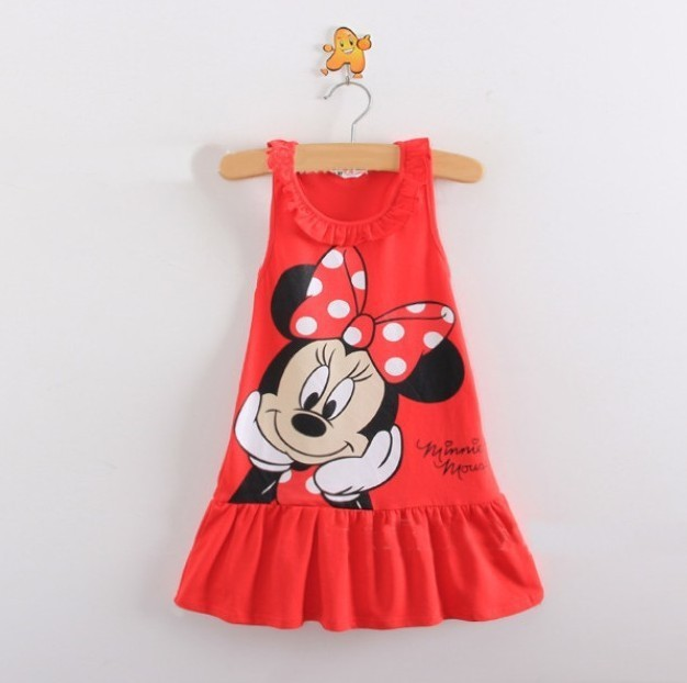 New 2014 Kids girls clothes cute Mickey Mouse Minnie Dress, 2 colors of red and pink mini Clothes, baby girls clothing dress(China (Mainland))