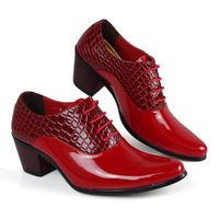 Men's pointed toe leather  fashion british style elevator shoes dance  new fashion women's leather boots