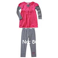 2014 girls clothing fashion red faux two piece set long-set T-shirt sweep