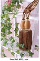 Curtain accessories tassels bind lashing pendant curtain buckle dark coffee Crack buckle hang ball