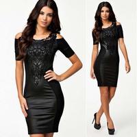 Milan Fashion ; women sexy bodycon dress ; PU leather sophisticated embroidered lace praty dresses ; vestidos saias femininas