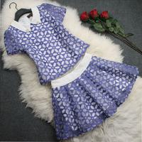 free shipping  beading diamond silk organza embroidery flower top short half-length skirt set