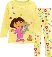 2014 Children Clothing Sets Cotton Baby Girls Pajamas Suit Kids pajamas children Dora suit