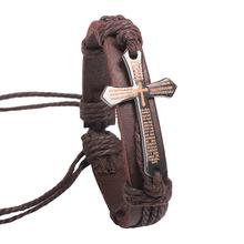 2014 New Fashion Vintage Cow Leather Bracelets Bangles Metal Cross Jesus Charm Bracelet Adjustable Wax Cord