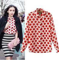 new 2014 polka dot chiffon shirt women's fashion full sleeve turn collar blouse shirt casual chiffon blouse tops T242