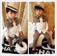 Wholesale (5 Size/Lot) Childrens Kids Boys Spring Baby Clothing Set (Shirt +Pant) Classic Clothing Set Free Shipping