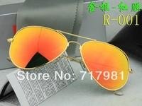 Free shipping Hot 1pcs Men's Women's Designer Sunglasses Gold Frame Iridium Red Lens 58mm With Box Case all