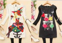 2014 hot sale Summer Vintage Dress Fashion Cartoon psychic Print  Dress Women Dress 1pcs free shipping