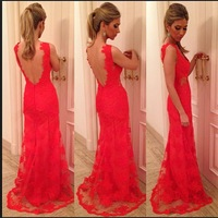 E0836 New arrival off the shoulder red lace evening dress 2014