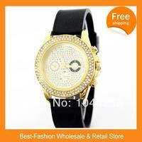ePacket Free Shipping 2014 Brand Silicone Diamond Watch Rose Gold Women Silver Wristwatch Janpan Quartz 10Color+Drop Shipping