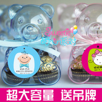 2014 hot sale Freeshipping 50 pcs/lot wedding favors box transparent bear baby favor box candy box baby shower favor box