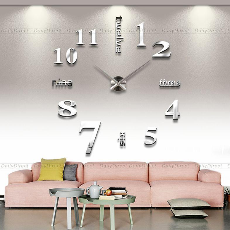 Large DIY Wall Clock 3D Adhesive Mirror Acrylic Sticker Home decor DIY Wall Sticker Clock Silver Surface Sticker 12S015-S(China