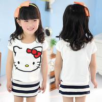free shipping 2014 summer cat girls clothing child short-sleeve tank dress 2 piece set tz-1185