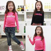 free shipping 2014 spring and autumn clothing boys letter girls clothing child long-sleeve T-shirt tx-1527 basic shirt