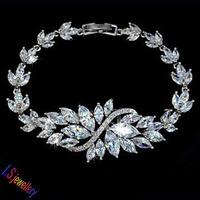 LS Jewellery Marquise cut AAA+ Swiss CZ Romantic Flower Wedding Party Bracelet