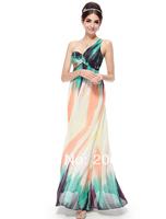 HE08008GR  Free Shipping One Shoulder Geometric Figure Printed Long Evening Dress -2014