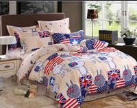 Tuzki  hello kitty child cartoon rabbit star king queen bed set 100% cotton bedding set  duvet cover  bed sheet