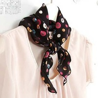 Multicolour dot fashion elegant high quality white collar short design thermal silk scarf female