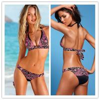 2014 new women  bikini swimsuit black floral two-piece bikini free shipping
