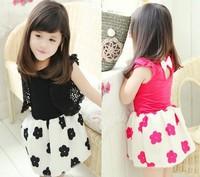 2014 Summer Cotton Child Girl Dresses Flower Patchwork Sleeveless Trimming Fashion Baby Girl Princess Dress 2-7T Kid Wear 635167