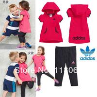 5set children shampooers jogging tracksuits sport set short sleeve T-shirt+shorts pants kids Boys Girls baby Summer clothes Suit
