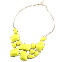 no minimum 2014 Fashion Neon yellow statement necklace bib necklace collar for women Free Shipping N210