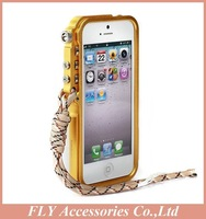 Aluminum Metal Bumper for iPhone 5 5s Fashion Luxury Tought Metal Armor Mobile Phone Bags & Cases Free Screen Protector