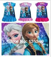 2014 New kids cartoon frozen nightgown dress baby girls short sleeve princess pajamas children's summer fashion homewear 3 color