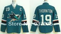 2014  Stadium Series Jersey San Jose Sharks # 19 Joe Thornton Black Blue Ice Hockey Jerseys