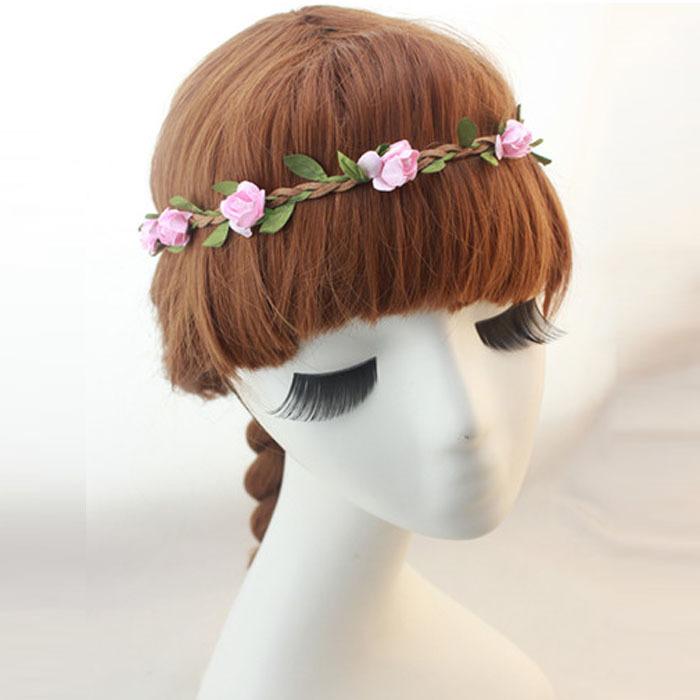 Handmade Seaside Beach Flowers Adorn Article Hair Hoop Hair Band Pink Freeshipping&Wholesale(China (Mainland))