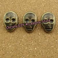 Retail 100pcs 15*22mm Bronze Promotional Skull Rivet Punk Rock DIY Studs Two Nailheads DIY Accessery Free Shipping