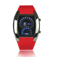 2014 New Designer Fashion Silicone Strap Mens Blue LED Flash Sport Watch Brand Car Meter Dial Binary Digital WristWatch Relogio