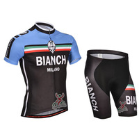 SWODART  men's bike sportwear  2014 ciclismo la bicicleta bianch team black and blue cycling jersey with bib kits