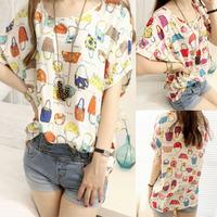 2014 summer all-match cool top loose fresh basic shirt short-sleeve chiffon shirt female