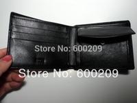 Free Shipping Top Black Genuine Leather Men's Zero wallet Purse Card Clutch Handbag