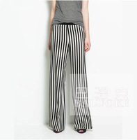 Europe Style Fashion Sexy Hot-selling Classic Black and White Vertical Stripe Casual Trousers Wide Leg Pantalones Plus Size 2014