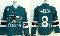 Free shipping 2014  Stadium Series Jersey San Jose Sharks # 8 Joe Pavelski Black Blue Ice Hockey Jerseys