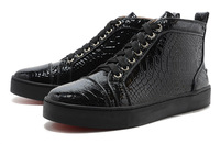 2014 new red bottom Python Leather Top Mens Sneakers Black Luxury Special High Top mens shoes