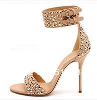 2014 elegant design stud women high heel sandals ankle wrap high heel summer dress shoes