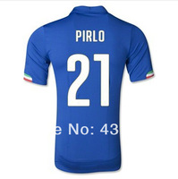 Italy jerseys 2014 world cup Italy home blue PIRLO 21# soccer jerseys, top thailand Italy jersey embroidery logo