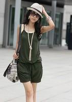 Free shipping!drawstring waist slim  Strap jumpsuit  fashionable jumpsuit casual  jumpsuit  all-match jumpsuit