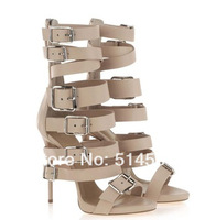 2014 nude leather high heel gladiator sandals bootie strappy buckle lace up women mid calf summer boots