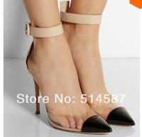 2014 new design Pointed toe anke wrap PVC high heel shoe women dress shoe transparent summer sandals