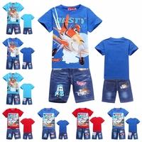 Retail! Cartoon DUSTY PLANE fashion kids sets boys t-shirt+jeans suits Children's suits (T-shirts+pants). Cartoon suits.