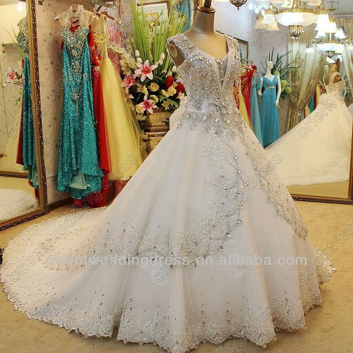 Sworavski crystal cap sleeve princess bling wedding dresses ball gown
