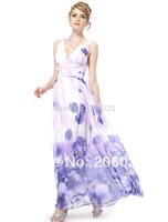Free Shipping   08144  Deep V-neck Flower Printed Chiffon Maxi Party Dress   2014
