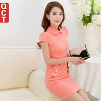 Qct 2014 spring slim elegant sweet short-sleeve knitted peter pan collar one-piece dress spring