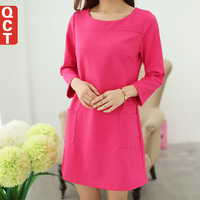Qct 2014 spring women's basic outfit OL slim three quarter sleeve plus size knitted one-piece dress