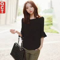 2014 spring women's female upperwear chiffon shirt slim lace shirt half sleeve basic shirt