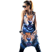 2014 Women's Casual Runway set 2 Piece Top And Pants Set Tiger print Clothing sets Women O-Neck Tank top Patterns Sports suit